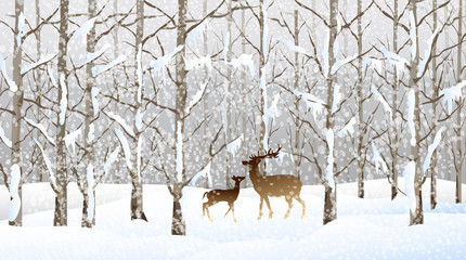 Winter Landscape (Forest)-vector
