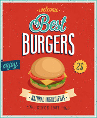 Wall Mural - Vintage Burgers Poster. Vector illustration.