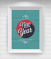Wall Mural - Vintage New Year Poster. Vector illustration.