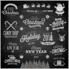 Wall Mural - Christmas set - emblems, decorative elements - Chalkboard.