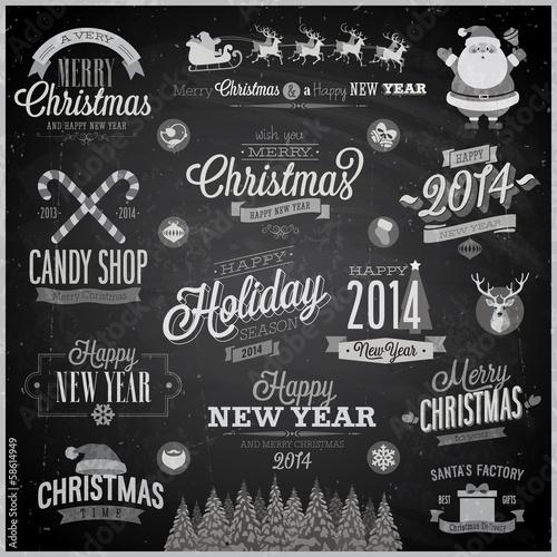 Wall mural Christmas set - emblems, decorative elements - Chalkboard.