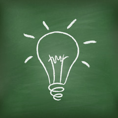 Light bulb on green chalkboard. Good idea