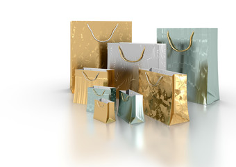 Decorative shopping bags - isolated in white background