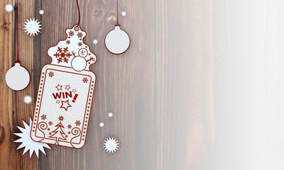 xmas coupon with win sign