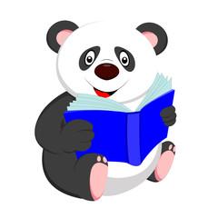 cute baby panda reading