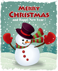 Vintage christmas poster design with snowman