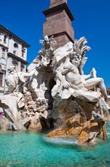 Fountain of the four Rivers on Piazza Navona in Rome. Italy.