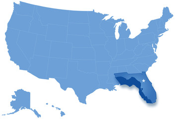 Map of States of the United States where Florida is pulled out