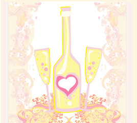 Abstract illustration of wine bottle and wine glass