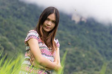 Thai Woman Enjoy in Field Doi inthanon, Maeglangluang Karen vill