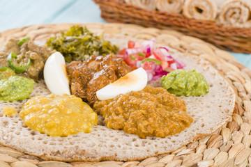 Ethiopian Feast - Injera (sourdough flatbread) with stews