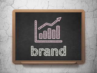 Advertising concept: Growth Graph and Brand on chalkboard