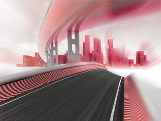 race motorways leading to modern city in motion blur render