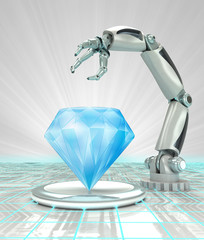 cybernetic robotic hand creation of artificial diamond render
