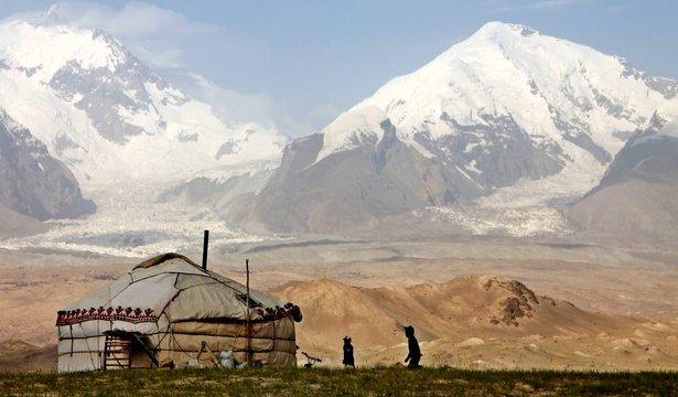 Pamir adventures: Yurt in high mountains, Xinjiang
