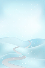 high winter landscape scene with road at snowfall vector