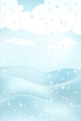 high winter landscape scene with hills at snowfall vector