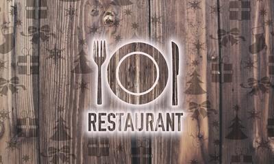 wooden restaurant symbol with presents