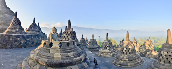 Poster Indonésie Panorama Borobudur Temple, Yogyakarta, Java, Indonesia.