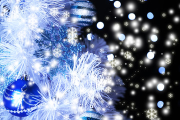 White Christmas tree on bright background