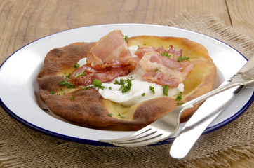 Langos, home made Hungarian pancake