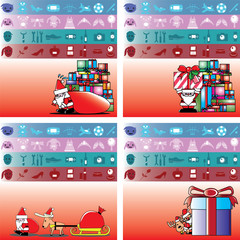 santa and gift for boy, girl, man and lady vector