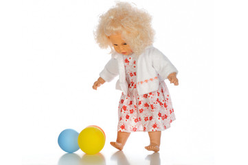 Baby doll with ballons