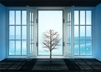 open doorway with bare tree and winter landscape scene behind
