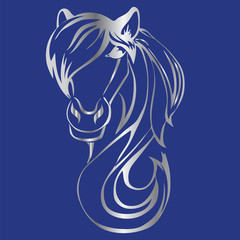 silver silhouette of a horse's head on a blue background.