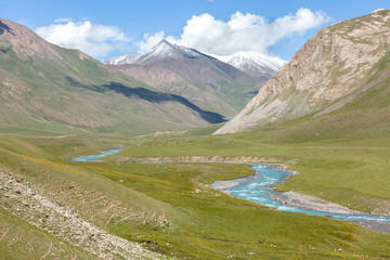 Fototapete - Blue river in mountains, Tien Shan