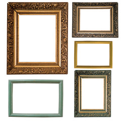 five picture frames isolated on white