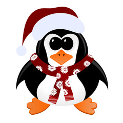 Cartoon penguin with Christmas hat and scarf