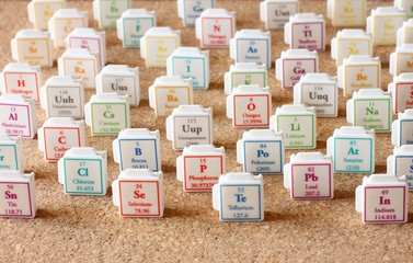 Periodic table of elements science education concept