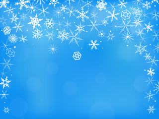 Winter background with beautiful various hand-drawn snowflakes.