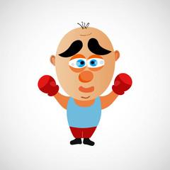 Cartoon boxer with a big bald head. Vector.