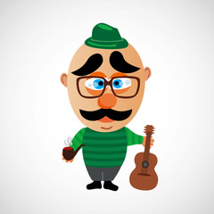 Cartoon hipster with a big bald head. Vector.