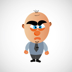 Cartoon businessman with a big bald head. Vector.