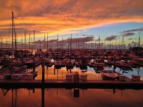 Sunset over Sailboats Chula Vista Marina Southern California