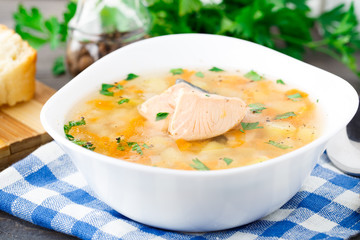 Healthy fish soup made of salmon