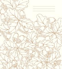 Vector floral card, retro oak leaves and acorns.