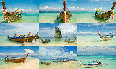 collections of long tail boats in Krabi, Thailand