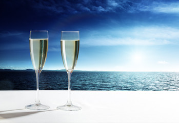champaign Glasses and  open ocean