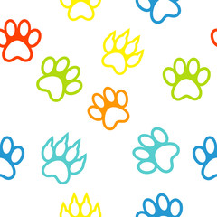 colored pattern with paw prints dog. cat