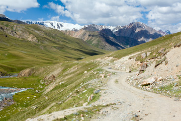 Wall Mural - Road in mountains of Tien Shan