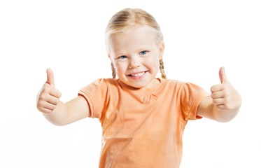 Happy preschool girl showing thumbs up,  Isolated over white