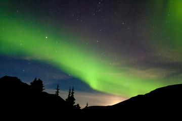 Moon rise hills northern lights Aurora borealis