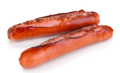 Delicious sausages isolated on white