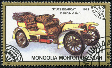 stamp printed in Mongolia shows stutz bearcat indiana