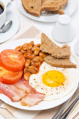 Traditional English breakfast with fried eggs, bacon, bean