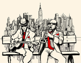 Wall Murals Art Studio two jazz men playing in New York